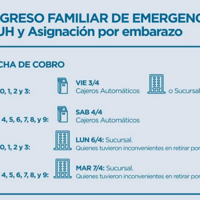 Difundieron cronograma del calendario de pagos del Ingreso Familiar de Emergencia