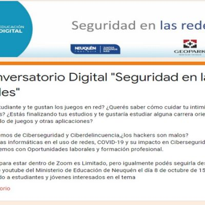 "Interesante taller on line: ""La Seguridad en Redes"""