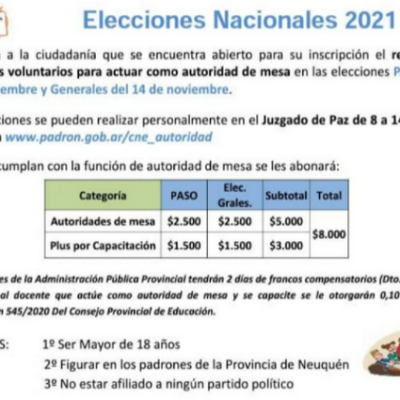 Convocan a voluntarios para ser autoridad de mesa en próximas elecciones