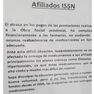 ISSN: problemas en farmacia y sin servicio en Sanatorio Huincul