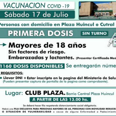 Vacunarán a mayores de 18 años en Plaza