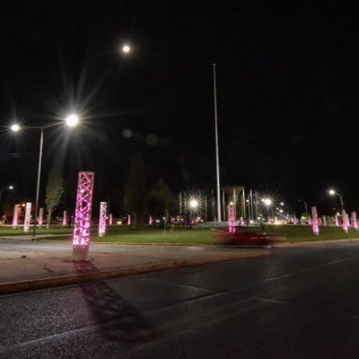 La plaza de las Banderas se vistió de rosa