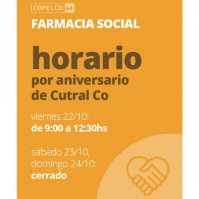 Horarios de Atención de Farmacia Copelco en aniversario de Cutral Co